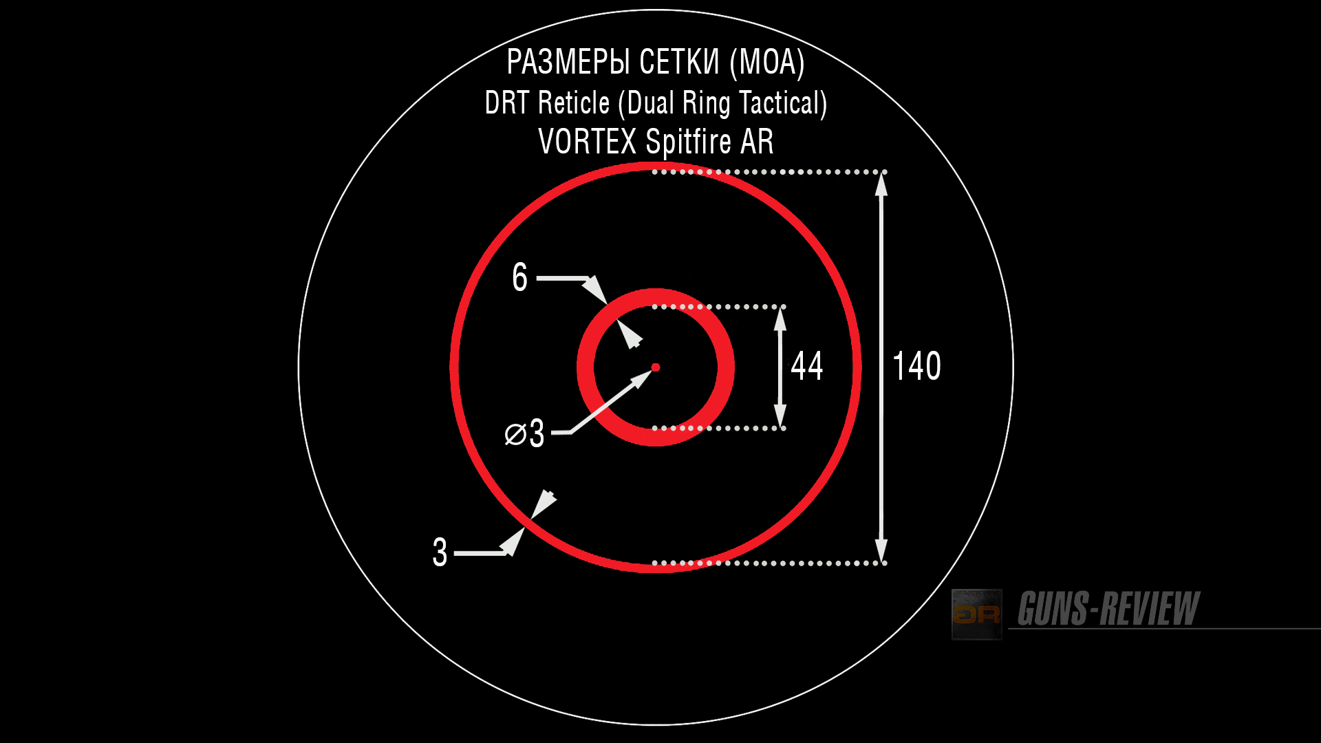 Размеры сетки DRT (Dual Ring Tactical) Vortex Spitfire AR