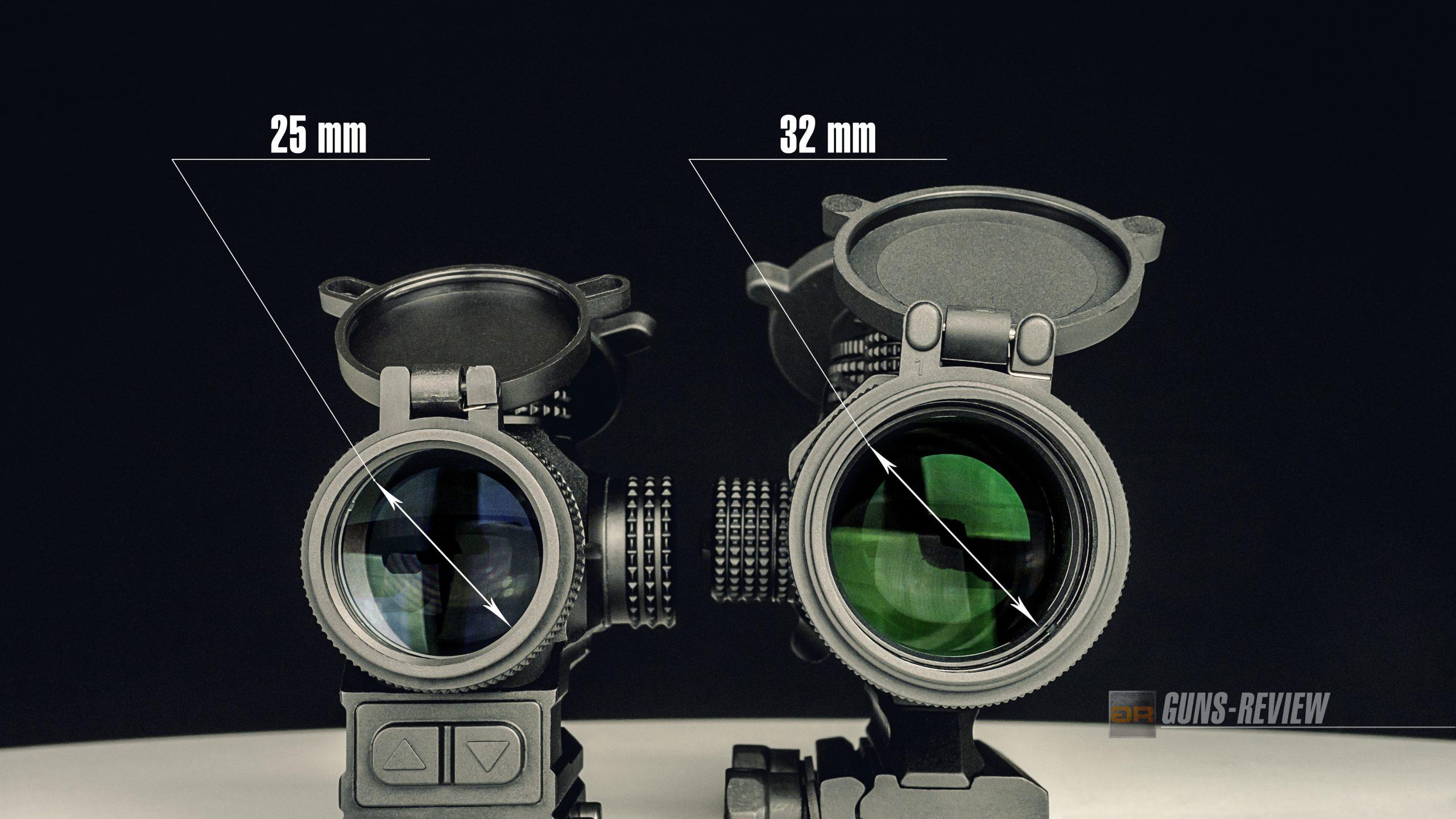 Размер линз призматических прицелов Vortex Spitfire