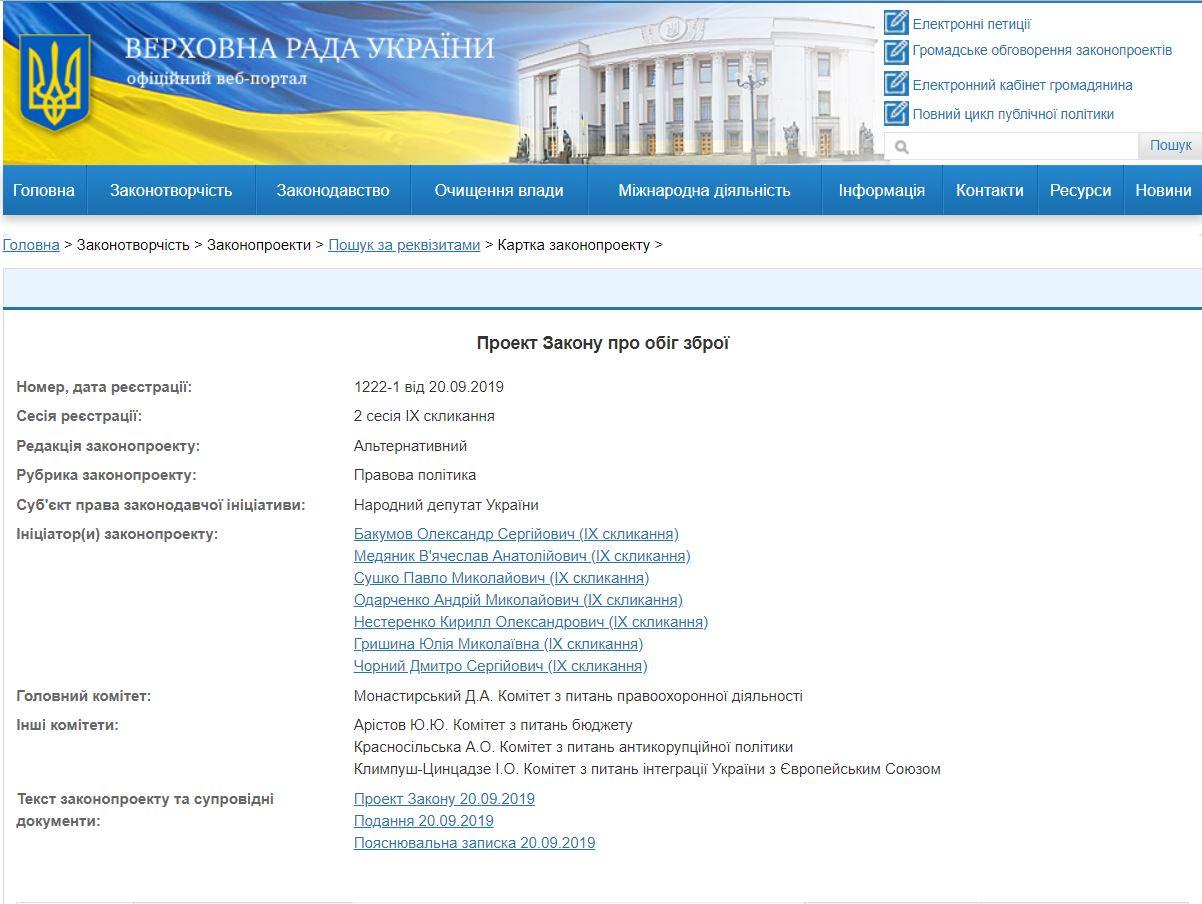 1222-1 Зарегистрированный альтернативный проект Закона об Оружии